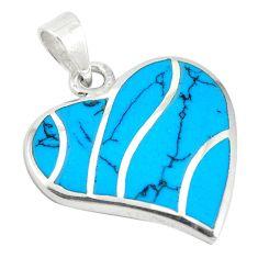 Fine blue turquoise enamel 925 sterling silver heart pendant jewelry a72725