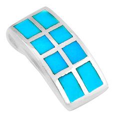 4.69gms fine blue turquoise enamel 925 sterling silver pendant jewelry c3078