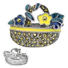6.89gms fine marcasite enamel 925 sterling silver brooch pendant jewelry c3012