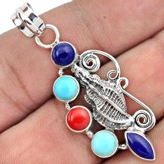 GALLANT NATURAL BLUE LAPIS CORAL 925 SILVER SEA SHELL PENDANT JEWELRY H31032
