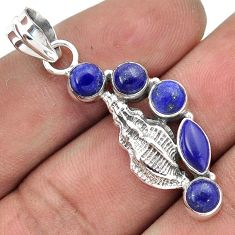 GLOWING NATURAL BLUE LAZULI LAPIS 925 STERLING SILVER SEA SHELL PENDANT H31035