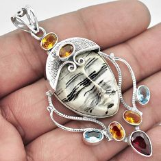 GLOWING WHITE HOWLITE CITRINE TOPAZ 925 STERLING SILVER MAN FACE PENDANT H44659