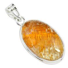 15.65cts golden natural purple cacoxenite super seven 925 silver pendant p70840
