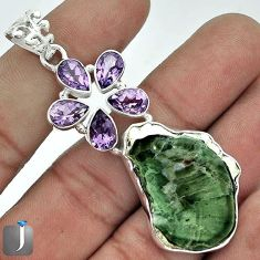 GORGEOUS NATURAL BROWN PETRIFIED WOOD FOSSIL AMETHYST 925 SILVER PENDANT G14623