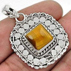 GORGEOUS NATURAL BROWN TIGERS EYE 925 STERLING SILVER PENDANT JEWELRY G91568