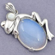 GORGEOUS NATURAL WHITE OPALITE PEARL 925 STERLING SILVER FROG PENDANT H39934