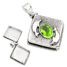 3.42cts green alexandrite (lab) 925 sterling silver poison box pendant p80001
