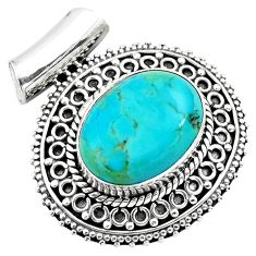 14.17cts green arizona mohave turquoise 925 sterling silver pendant p86688