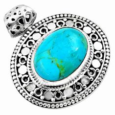 12.85cts green arizona mohave turquoise 925 sterling silver pendant p86693