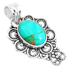 6.27cts green arizona mohave turquoise oval 925 sterling silver pendant p39410