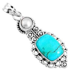 6.53cts green arizona mohave turquoise pearl 925 sterling silver pendant p39433