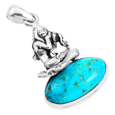 9.70cts green arizona mohave turquoise silver angel wings fairy pendant p42072