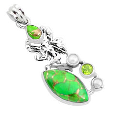 15.47cts green copper turquoise 925 silver angel wings fairy pendant p37603
