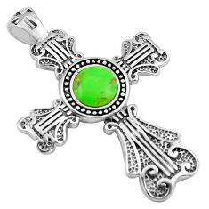 5.12cts green copper turquoise 925 sterling silver holy cross pendant c4809