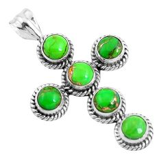 7.81cts green copper turquoise 925 sterling silver holy cross pendant p35947
