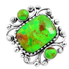 6.31cts green copper turquoise 925 sterling silver pendant jewelry c1671