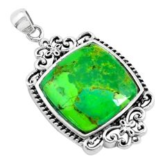 7.56cts green copper turquoise 925 sterling silver pendant jewelry c1806