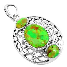 6.58cts green copper turquoise 925 sterling silver pendant jewelry c1810