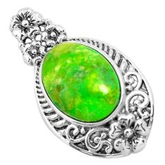 7.40cts green copper turquoise 925 sterling silver pendant jewelry c1815