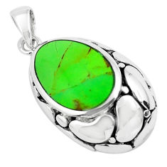 3.59cts green copper turquoise 925 sterling silver pendant jewelry c1817