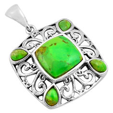5.52cts green copper turquoise 925 sterling silver pendant jewelry c4836