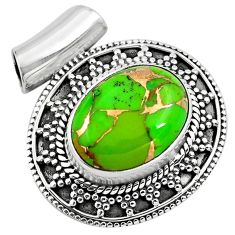 9.44cts green copper turquoise 925 sterling silver pendant jewelry p86578