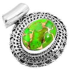 9.44cts green copper turquoise 925 sterling silver pendant jewelry p86593