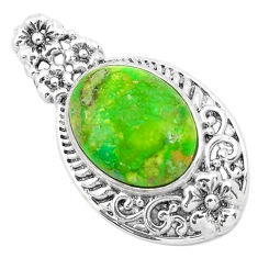 7.40cts green copper turquoise oval 925 sterling silver pendant jewelry c1809
