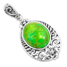 5.54cts green copper turquoise oval 925 sterling silver pendant jewelry c1816