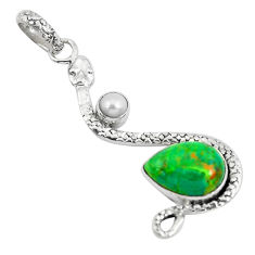 6.53cts green copper turquoise pearl 925 sterling silver snake pendant p49109