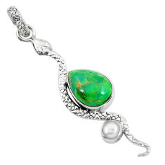 6.10cts green copper turquoise pearl 925 sterling silver snake pendant p49150