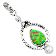 6.84cts green copper turquoise pearl 925 sterling silver snake pendant p49192