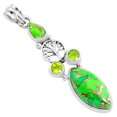 13.27cts green copper turquoise peridot 925 silver tree of life pendant p37601