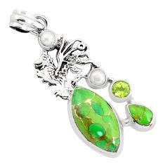 15.33cts green copper turquoise peridot pearl 925 silver dragon pendant p37605