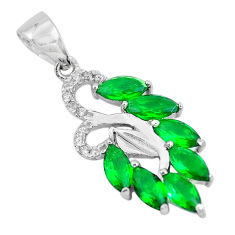 2.84cts green emerald (lab) topaz 925 sterling silver pendant jewelry c3533