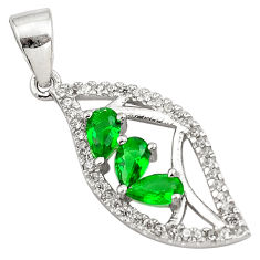 1.96cts green emerald (lab) topaz 925 sterling silver pendant jewelry c4428