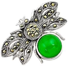 5.81cts green jade marcasite 925 sterling silver pendant jewelry c4416