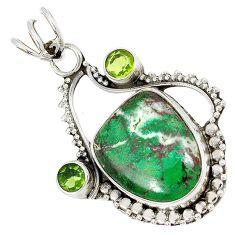 Green matrix opal fancy shape peridot 925 sterling silver pendant jewelry j1656