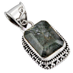 7.14cts green natural rutile 925 sterling silver pendant jewelry p90347
