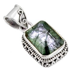 7.36cts green natural rutile 925 sterling silver pendant jewelry p90350