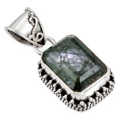 7.13cts green natural rutile 925 sterling silver pendant jewelry p90353