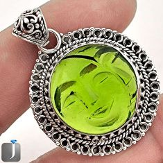 21.85CT GREEN PARROT QUARTZ 925 STERLING SILVER MOON FACE PENDANT JEWELRY F60527