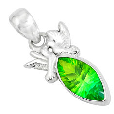 Clearance Sale- 7.54cts green tourmaline (lab) 925 sterling silver love birds pendant d31246