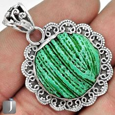INCREDIBLE RARE GREEN CARDITA SHELL 925 STERLING SILVER PENDANT JEWELRY G31682