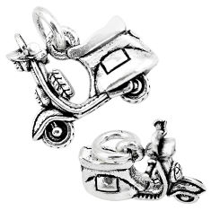 5.26gms indonesian bali style solid 925 silver scooter charm pendant c2719