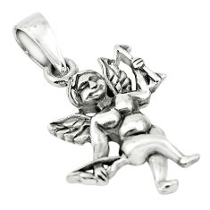 3.69gms indonesian bali style solid 925 sterling silver angel pendant c3699