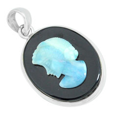 14.72cts lady face natural black opal cameo on black onyx silver pendant p68781