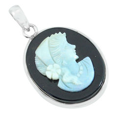 16.18cts lady face natural black opal cameo on black onyx silver pendant p68795