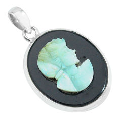 13.08cts lady face natural black opal cameo on black onyx silver pendant p68817