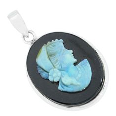 16.20cts lady face natural black opal cameo on black onyx silver pendant p68819